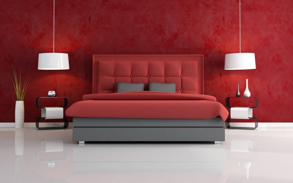 nowoczesne ekskluzywne łóżko czerwone